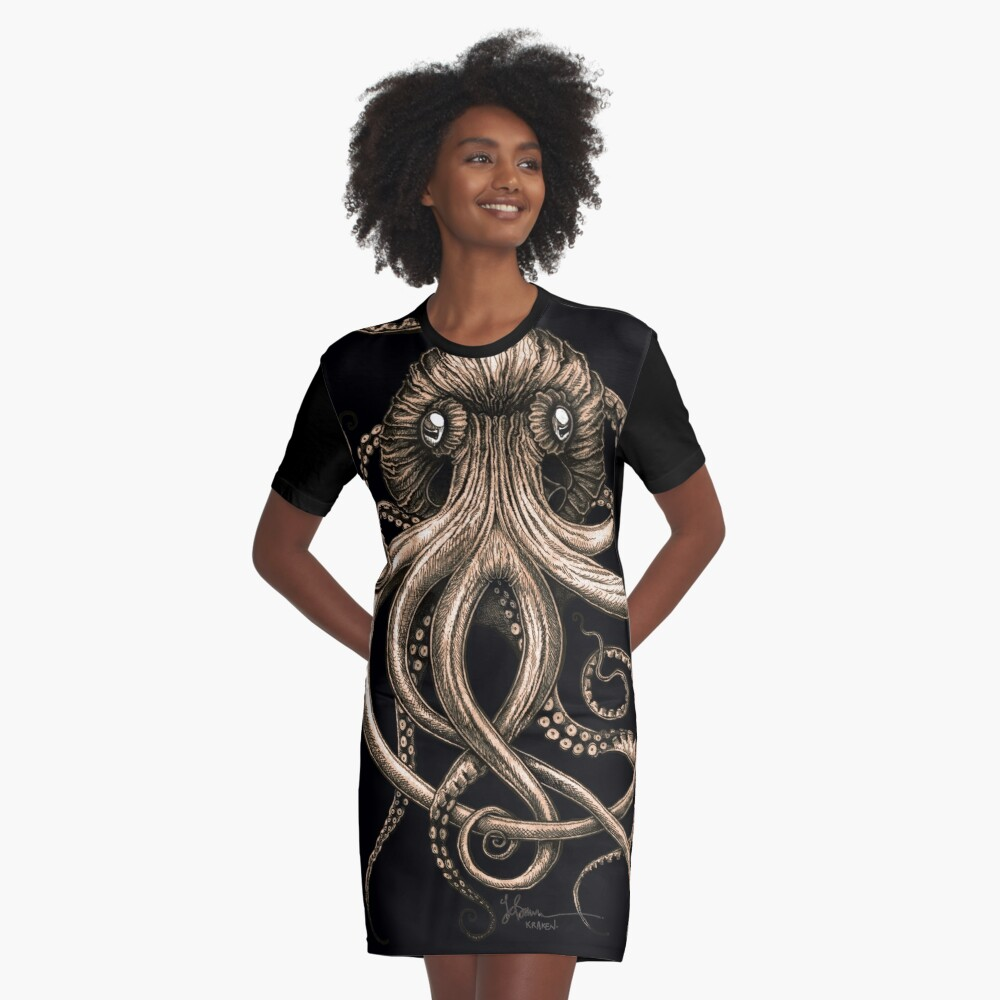 Bronze Kraken Graphic T-Shirt Dress
