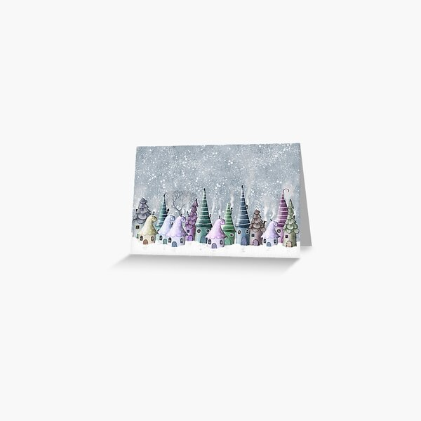 Tiny elf cottages in the snow Greeting Card