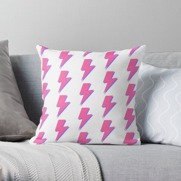 Pink and Purple Lightning  Throw Pillow