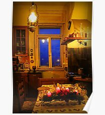In the yellow kitchen before Christmas Poster