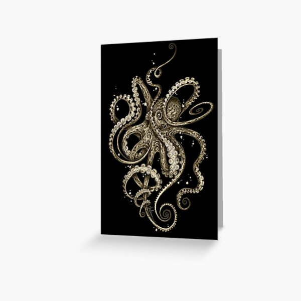 Octopsychedelia Sepia Greeting Card