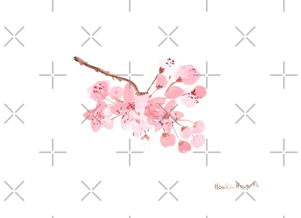 Quot Pink Cherry Blossom Watercolour Painting Quot By Monika