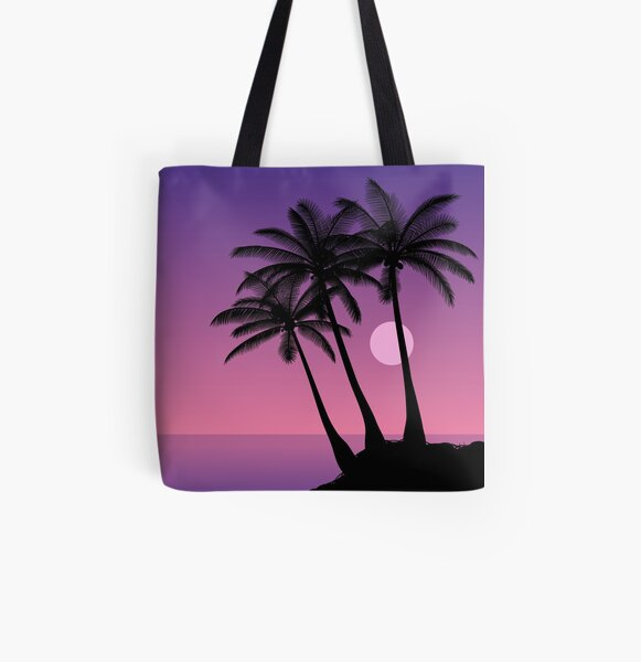 Silhouettes of palm trees against the night sky. All Over Print Tote Bag