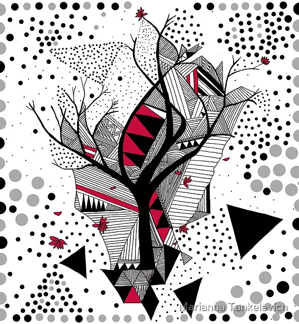 geometric abstract with a tree  by Marianna Tankelevich