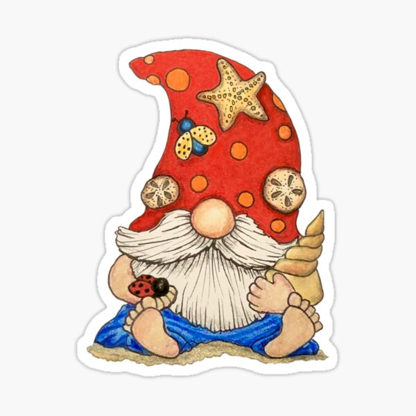 Enzo the Beach Gnome Sticker