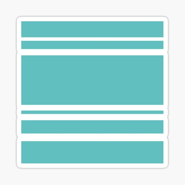 Teal Blue and White Horizontal Stripes Pattern Sticker