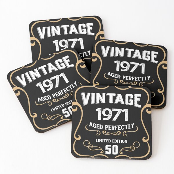 50th Birthday Vintage 1971 Aged Perfectly Gift Coasters (Set of 4)