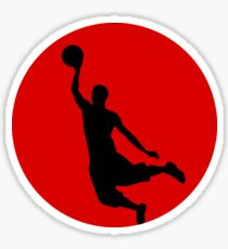 Basketball Player Silhouette Red Sticker