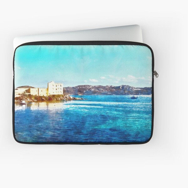 Island La Maddalena: sea landscape building and boats Laptop Sleeve