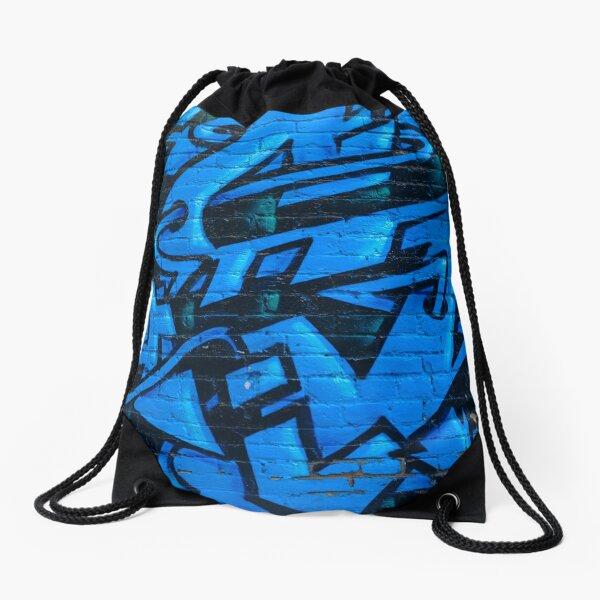 Blue Street Art Drawstring Bag