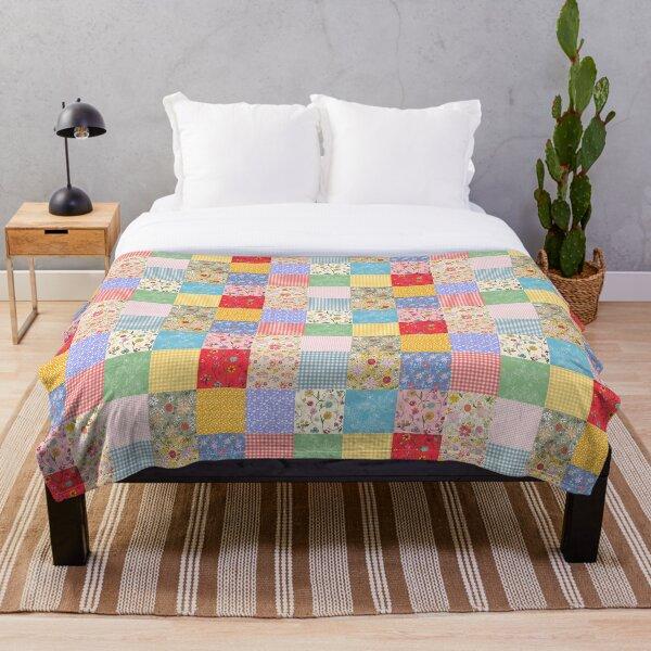 Happy Cottage Patchwork Throw Blanket