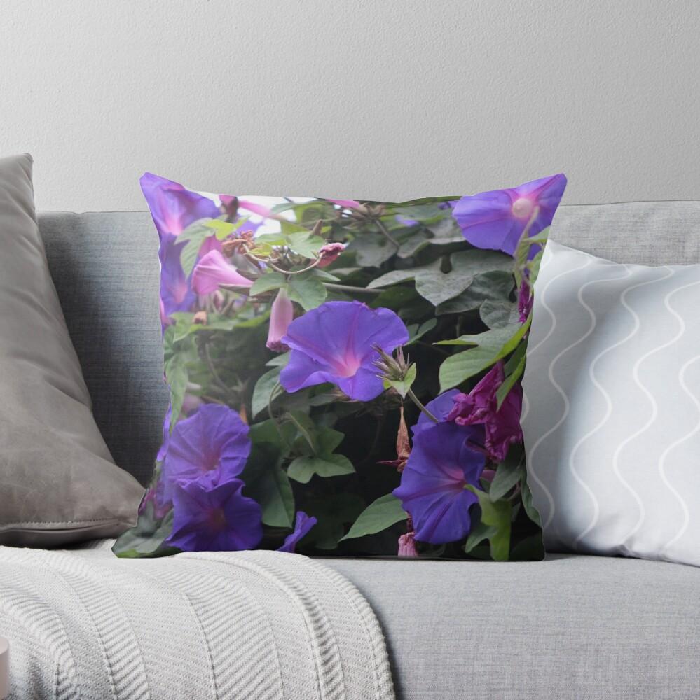 Spring Morning Glories in Blue Throw Pillow