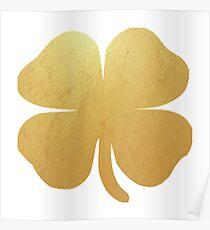 Four Leaf Clover Shamrock Gold Poster