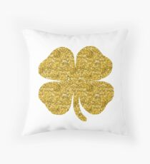 Shamrock four leaf clover gold glitter Throw Pillow