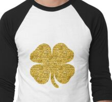 Shamrock four leaf clover gold glitter Men's Baseball ¾ T-Shirt