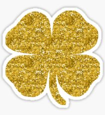 Shamrock four leaf clover gold glitter Sticker