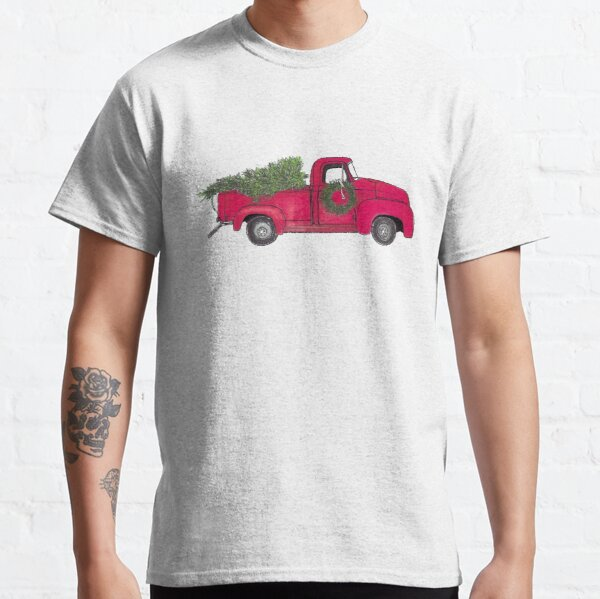 Old Red Truck with Christmas tree Classic T-Shirt