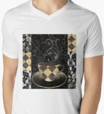Cafe Noir Harlequin Mens V-Neck T-Shirt
