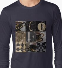 Coffee Love Nine Patchwork Long Sleeve T-Shirt