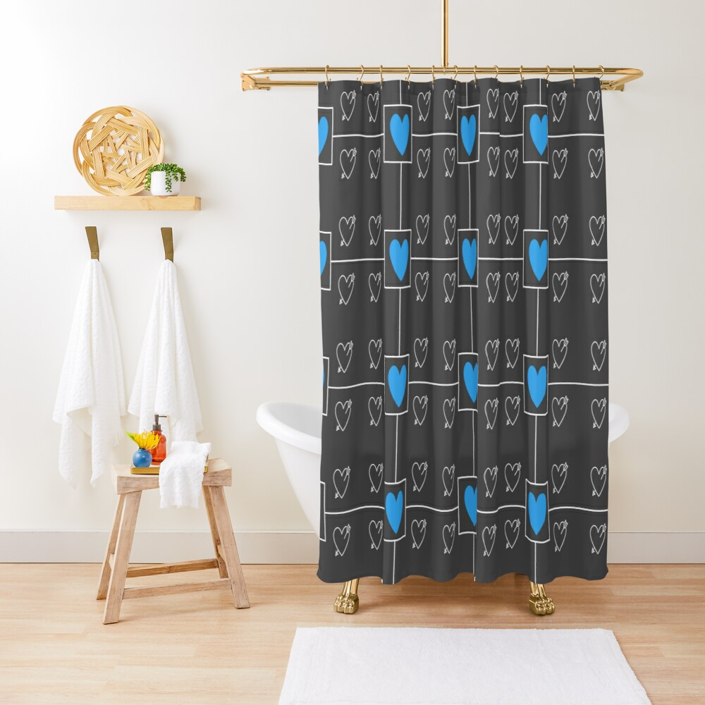 Blue hearts with grey and white hearts in a geometric design Shower Curtain