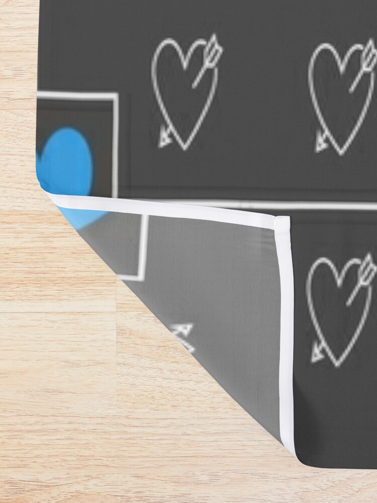 Alternate view of Blue hearts with grey and white hearts in a geometric design Shower Curtain