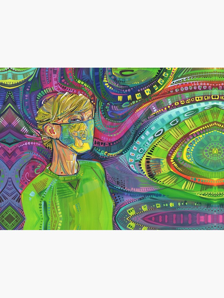 Surrealist COVID Mask Self-portrait Painting - 2020 by gwennpaints