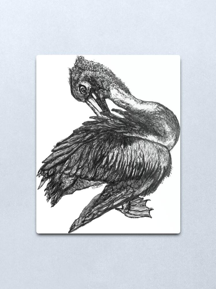 Alternate view of Percephone the Pelican Metal Print