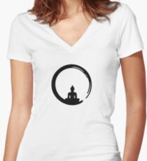 Enso Zen Circle of Enlightenment,  Meditation, Buddha, Buddhism, Japan Women's Fitted V-Neck T-Shirt
