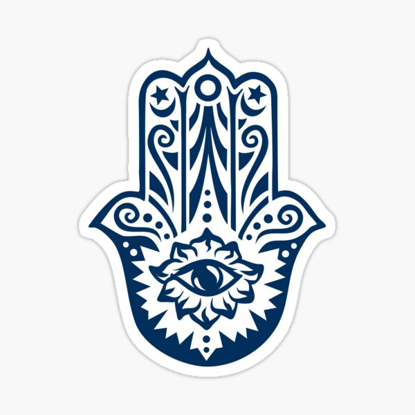 Hamsa Hand of Fatima, protection amulet, symbol of strength and happiness Sticker
