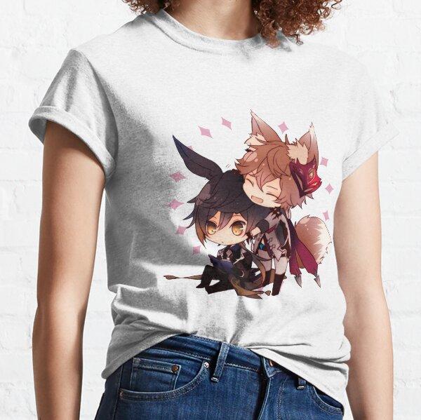 Genshin Impact Chibi Childe and Zhongli  Classic T-Shirt