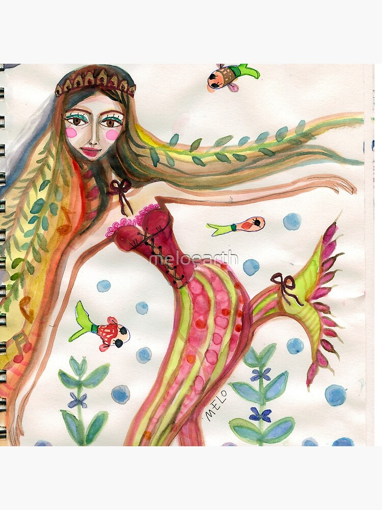 Mermaid with Fish Friends and Plants by meloearth