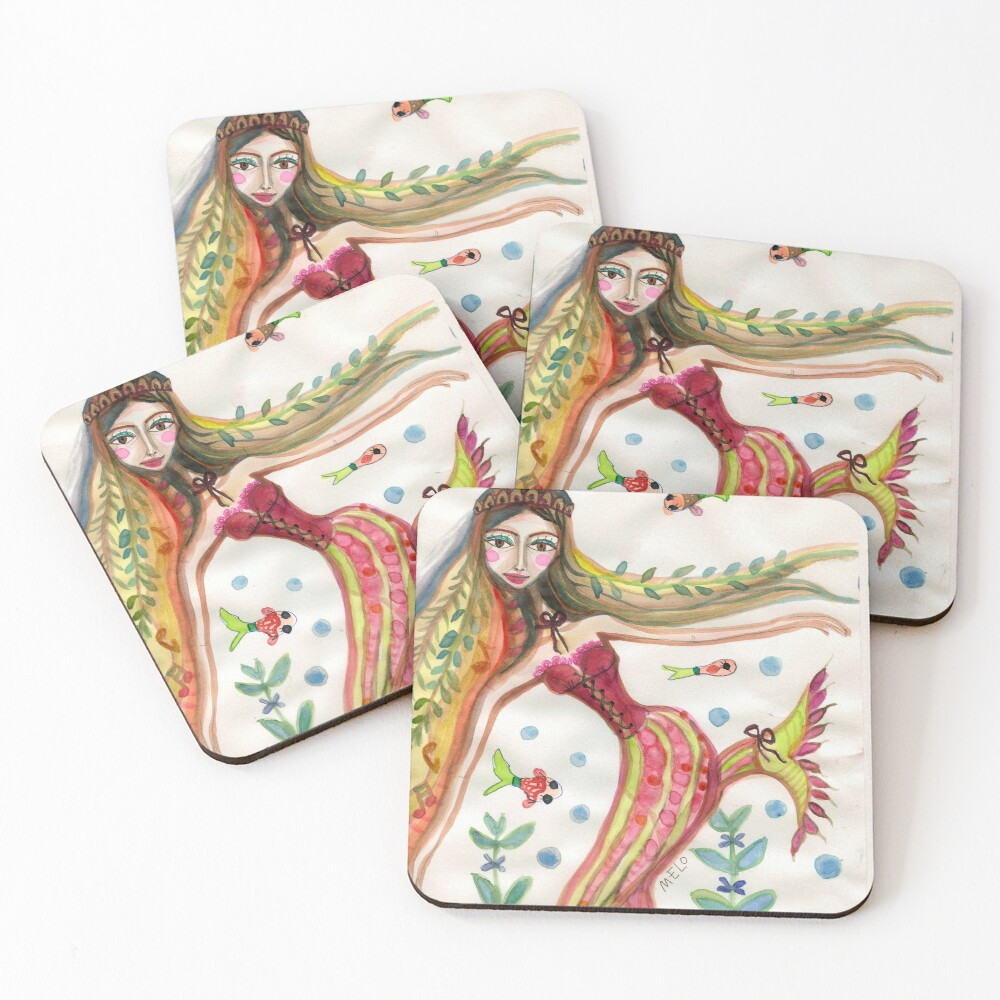 Mermaid with Fish Friends and Plants Coasters (Set of 4)