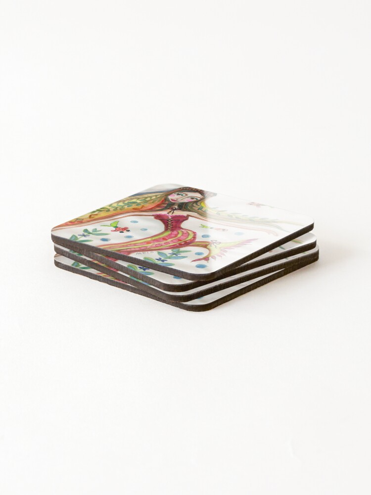 Alternate view of Mermaid with Fish Friends and Plants Coasters (Set of 4)