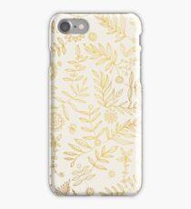 Gold elegant stylish hand draw floral wallpaper iPhone Case/Skin