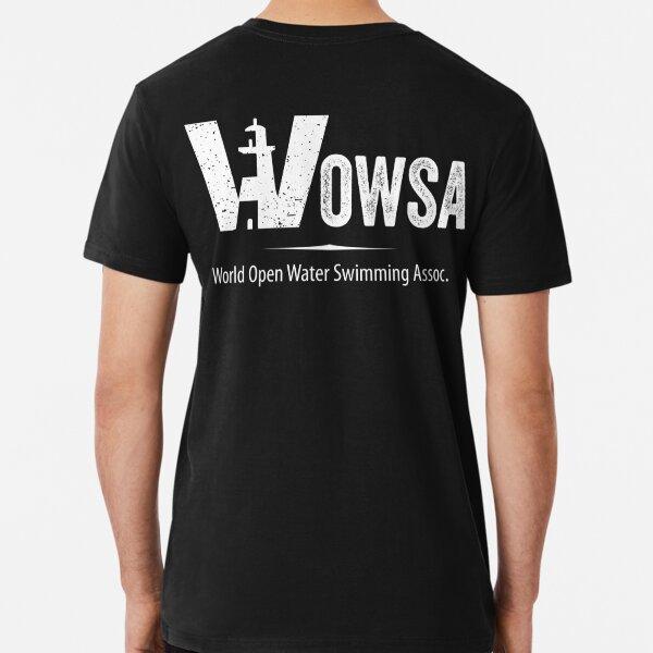 White WOWSA Lighthouse Swimming Logo (Back) Premium T-Shirt