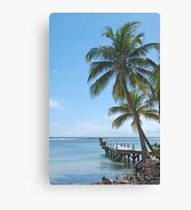 Tropical Palm Trees Hang Over Oceanfront Jetty Canvas Print