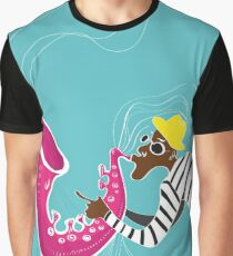 illustration of a Jazz poster with saxophonist Graphic T-Shirt