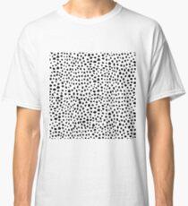 Modern Black and White Hand Drawn Polka Dots Classic T-Shirt