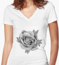 Black and White Watercolour Rose Women's Fitted V-Neck T-Shirt