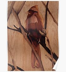 Red bird wooden marquetry picture art Poster