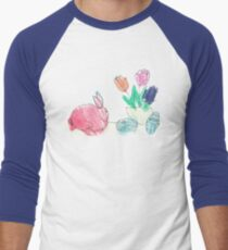 Pink Rabbit With Spring Tulips and Easter Eggs Baseball ¾ Sleeve T-Shirt
