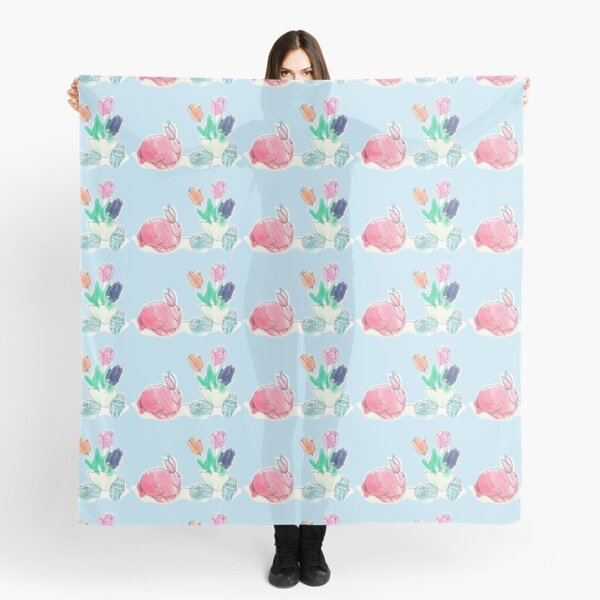 Pink Rabbit With Spring Tulips and Easter Eggs Scarf