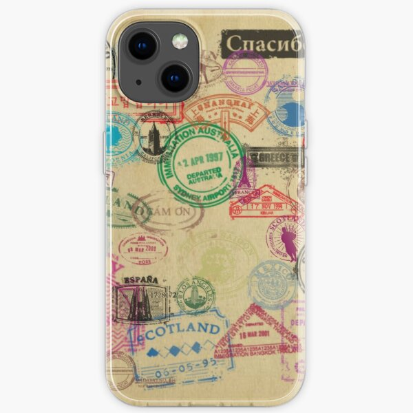 Vintage Passport Stamps iPhone Soft Case