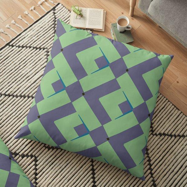Modern Abstract Green Grey Pattern Design 991 Floor Pillow