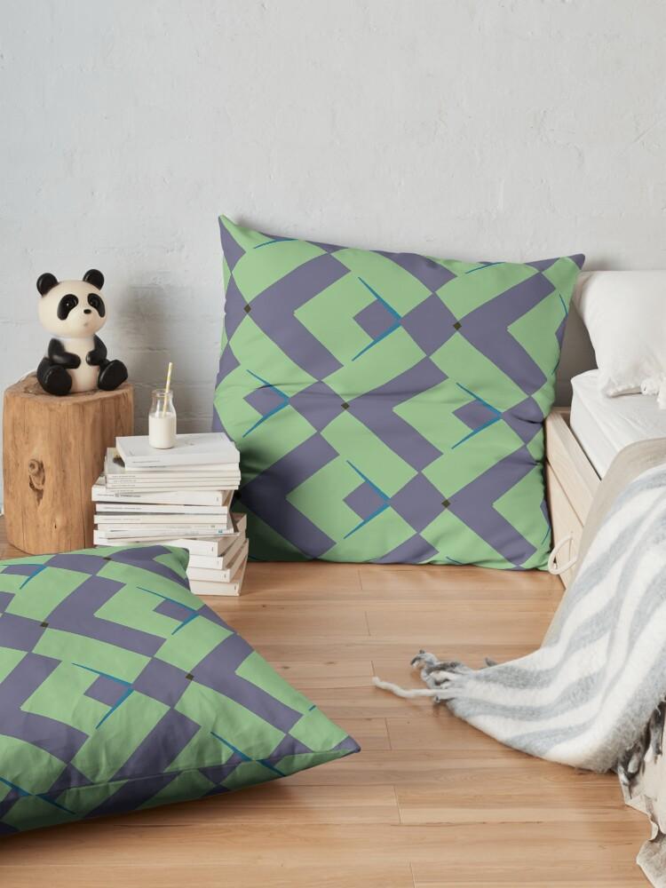 Alternate view of Modern Abstract Green Grey Pattern Design 991 Floor Pillow