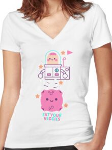 Eat your veggies Women's Fitted V-Neck T-Shirt