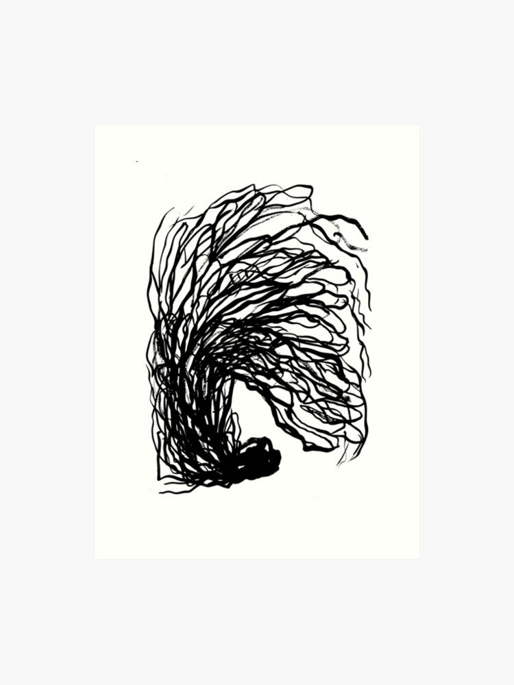 Black And White Minimal Abstract Painting Brushstrokes Urban Monochromatic Art Print Painting India Ink Drawing Art Print