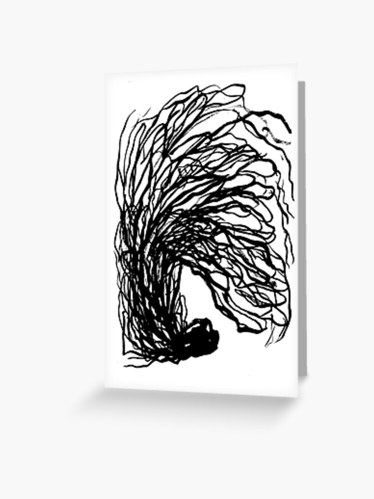 Black And White Minimal Abstract Painting Brushstrokes Urban Monochromatic Art Print Painting India Ink Drawing Greeting Card