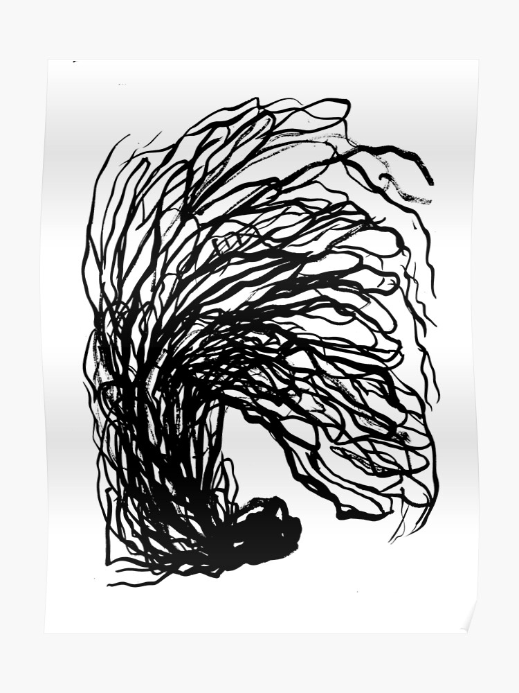 Black And White Minimal Abstract Painting Brushstrokes Urban Monochromatic Art Print Painting India Ink Drawing Poster