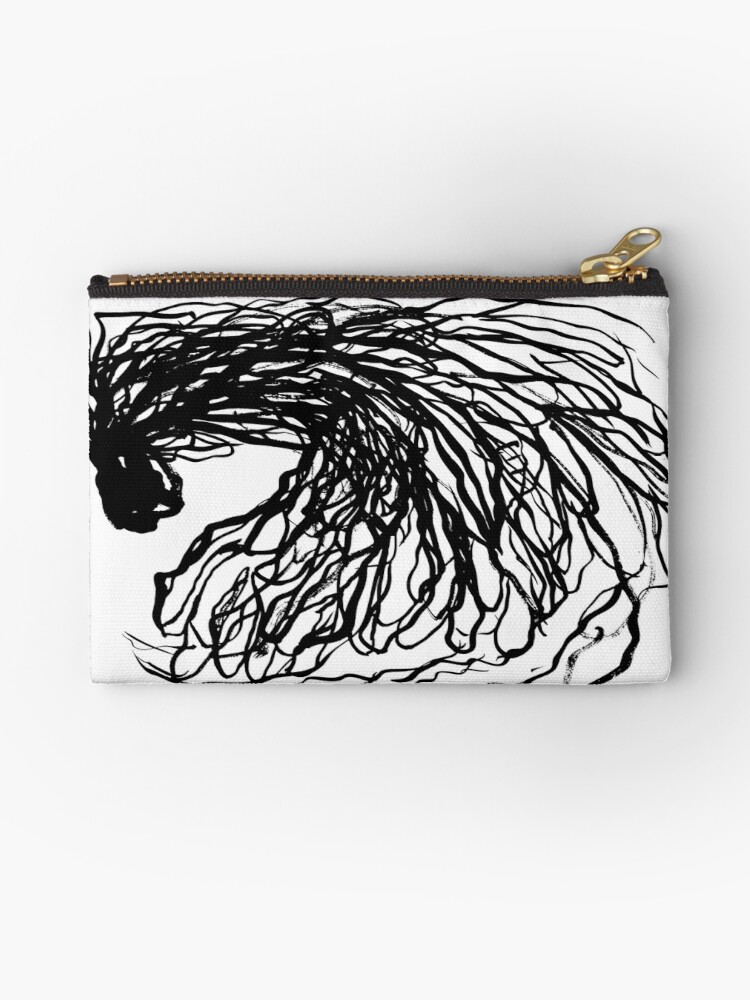 Black And White Minimal Abstract Painting Brushstrokes Urban Monochromatic Art Print Painting India Ink Drawing Zipper Pouch By Charlottewinter